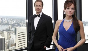 Madame Tussauds wax figures of Angelina Jolie and Brad Pitt are seen at Sydney Tower Eye in central Sydney