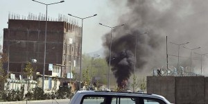 Smoke rises from the site of an attack near the Afghan parliament in Kabul