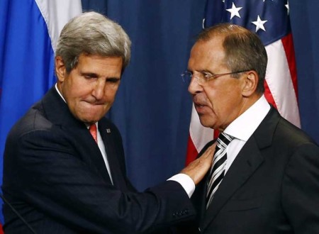 File photo of U.S. Secretary of State Kerry and Russian Foreign Minister Lavrov shaking hands after making statements following meetings regarding Syria, at a news conference in Geneva