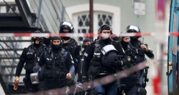 German special police forces arrive to attend a hostage situation in Ingolstadt
