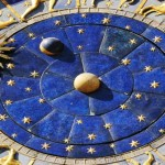 Close up shot of astrological clock in Piazza San Marco, Venice
