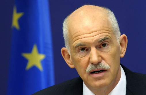 Greece's Prime Minister Papandreou holds a news conference at the end of an European Summit in Brussels