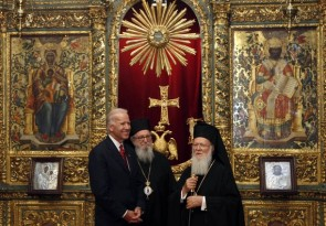 U.S. Vice President Biden, accompanied by Ecumenical Orthodox Patriarch Bartholomew I and Archbishop Demetrios, visits the Patriarchal Cathedral of St. George in Istanbul
