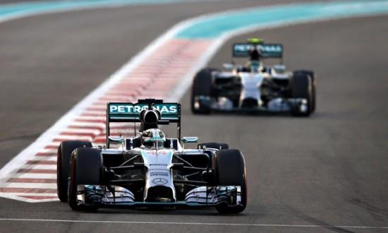 Lewis Hamilton leads Nico Rosberg