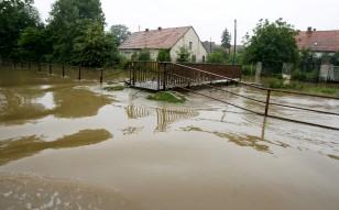 Flooded Strzelce village in south-western Poland