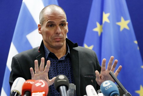 Greek Finance Minister Varoufakis addresses a news conference after an euro zone finance ministers meeting in Brussels