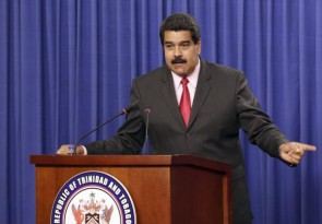 Venezuela's President Nicolas Maduro addresses the audience at the Diplomatic Centre in Port-of-Spain