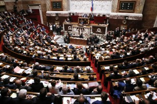 A general view shows the National Assembly as French Prime Minister Manuel Valls delivers his general policy speech in Paris
