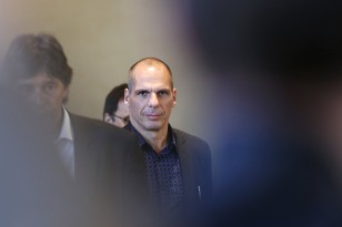 Greek Finance Minister Varoufakis leaves the European Commission headquarters in Brussels