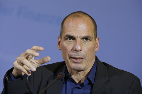 Greek Finance Minister Varoufakis addresses news conference at the finance ministry in Berlin
