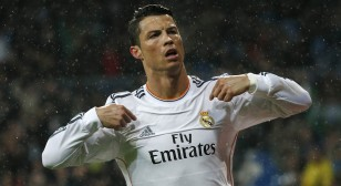 Real Madrid's Ronaldo celebrates his goal against Rayo Vallecano during their Spanish First Division soccer match in Madrid