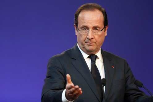 France's President Hollande delivers the opening speech of a major Labour Conference at the French Economic, Social and Environmental Council (CESE ) in Paris