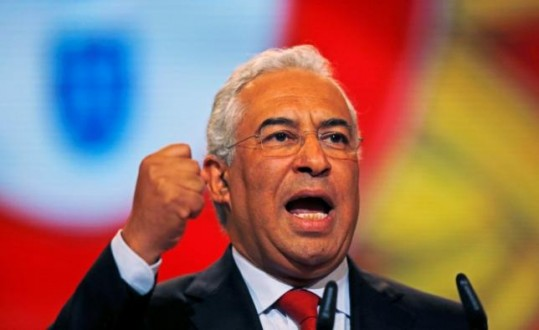 Newly elected Socialist party leader Antonio Costa speaks at the last session of his party congress in Lisbon