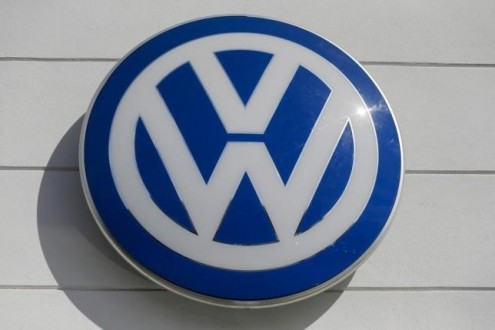 The logo of German carmaker Volkswagen is seen at a VW dealership in the Queens borough of New York