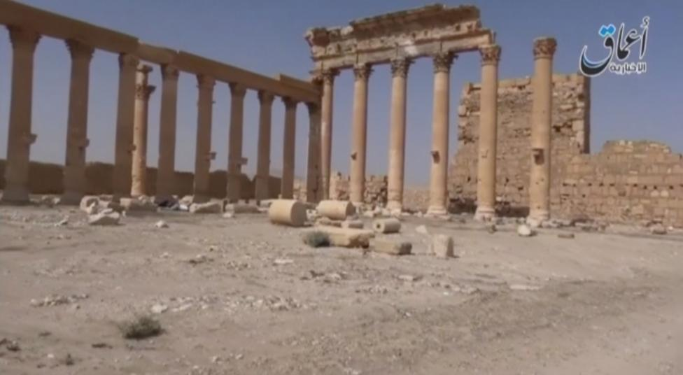 Columns at the historical city of Palmyra are seen in this still image from an undated video taken from a social media website
