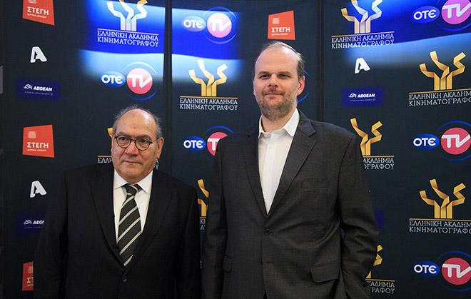 Ο υποδιευθυντής κινηματογραφικών & θεματικών καναλιών του ΟΤΕ TV, Αλέξανδρος Χριστογιάννης, μαζί με τον Πρόεδρο της Ελληνικής Ακαδημίας Κινηματογράφου Βασίλη Κατσούφη