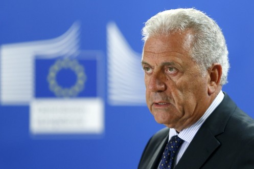 EU Commissioner for Migration Avramopoulos addresses a news conference at the EU Commission headquarters in Brussels