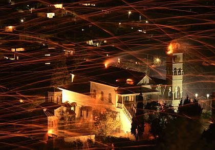 Rockets streak through sky during Greek Orthodox Easter celebrations on Aegean island of Chios
