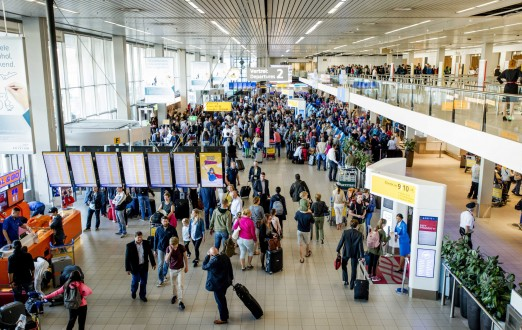 Busy travel at Schiphol airport