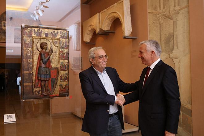 Ο Υπουργός Πολιτισμού και Αθλητισμού, κ. Αριστείδης Μπαλτάς και ο Πρόεδρος και Διευθύνων Σύμβουλος του Ομίλου ΟΤΕ, κ. Μιχάλης Τσαμάζ στο Βυζαντινό και Χριστιανικό Μουσείο