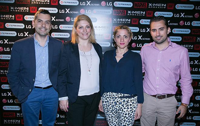 (από αριστερά) Ο Δημήτρης Βάθης, Διευθυντής Πωλήσεων Κινητής LG, η Βανέσα Τσιριμώκου από το Retail Marketing Κινητής ΟΤΕ-COSMOTE, η Τζώρτζια Σταυροπούλου, Corporate & Business Units Marketing Manager LG και ο Χριστόφορος Μποζατζίδης, Υποδιευθυντής Channel Marketing Ομίλου ΟΤΕ