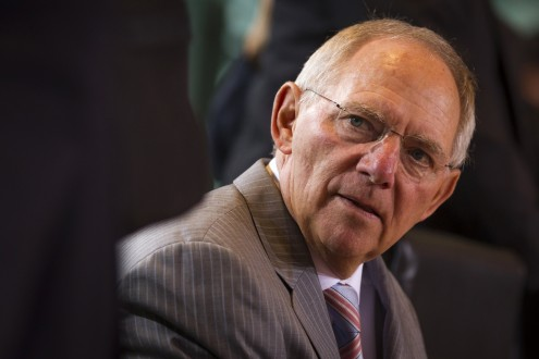 German Finance Minister Schaeuble attends cabinet meeting at Chancellery in Berlin