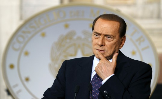 Italian Prime Minister Berlusconi looks on during a news conference with Malta's Prime Minister Gonzi at Villa Madama in Rome