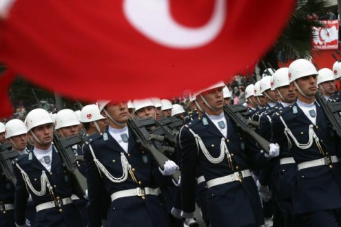 Turkish Army soldiers march in a militar
