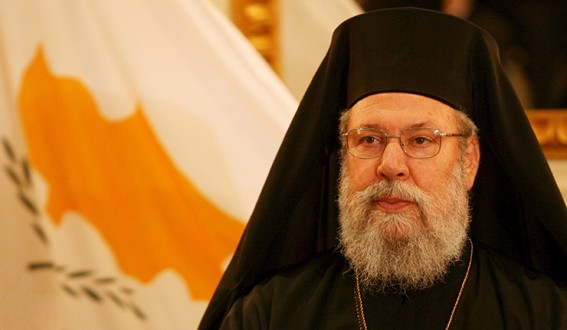 The Orthodox Archbishop of Cyprus, Chrysostomos II in Italy
