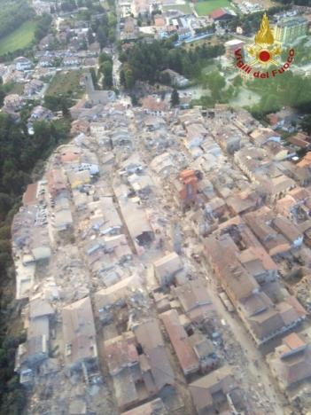 General view following an earthquake in Amatrice, central Italy