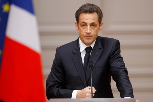 France's President Nicolas Sarkozy delivers a speech after the weekly cabinet meeting at the Elysee Palace in Paris