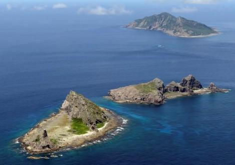 A group of disputed islands, Uotsuri island , Minamikojima and Kitakojima, known as Senkaku in Japan and Diaoyu in China is seen in the East China Sea