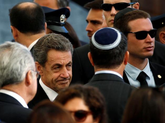 Former French President Nicolas Sarkozy is seen upon his arrival to attend the funeral of former Israeli President Shimon Peres at Mount Herzl cemetery in Jerusalem