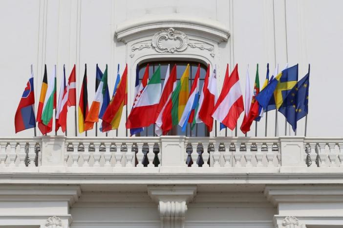 EU countrie's flags are seen at theEuropean Union countries flags are seen at the Bratislava Castle (Hrad) during the European Union summit- the first one since Britain voted to quit- in Bratislava