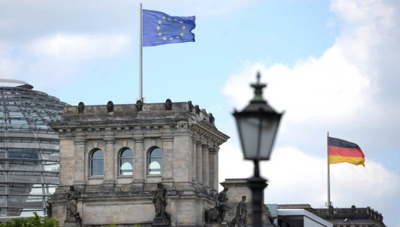 European flag on Reichstag building