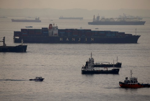 Container vessel Hanjin Rome sits in the eastern anchorage area in Singapore