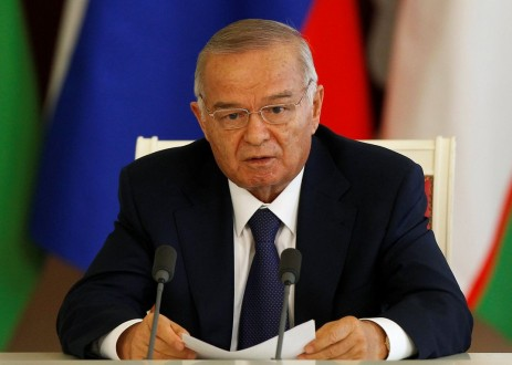 Uzbekistan's President Karimov makes a statement at the Kremlin in Moscow
