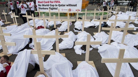 Protests at the venue of 65th FIFA congress in Switzerland