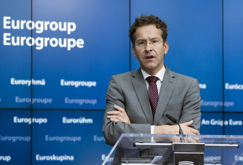 Dijsselbloem holds a news conference during a Euro zone finance ministers emergency meeting on the situation in Greece