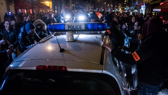 French police forces protest in Paris