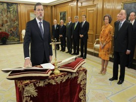 New Spanish PM Rajoy is sworn in during a ceremony at the Zarzuela Palace in Madrid