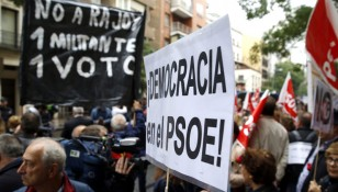 Protests at PSOE's headquarters