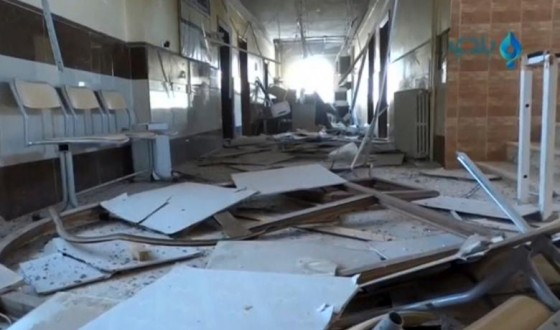 A still image taken from a video posted on social media said to be shot on November 14, 2016, shows the damage inside a hospital, said to be in the rebel-held town of Atareb in the countryside west of Aleppo