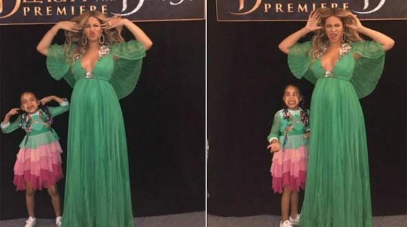 Η Μπιγιονσέ κάνει γκριμάτσες με την κόρη της στην πρεμιέρα της ταινίας «Beauty and the Beast»