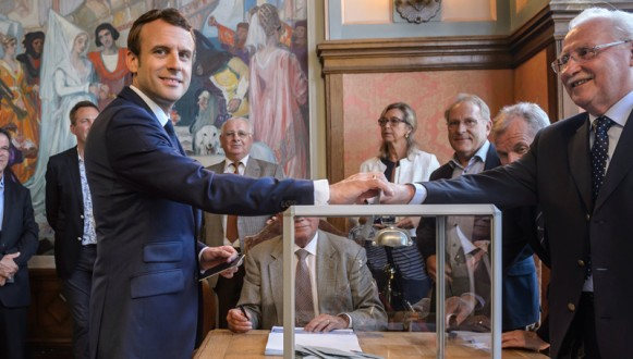French president Macron votes  in Le Touquet for parliamentary elections