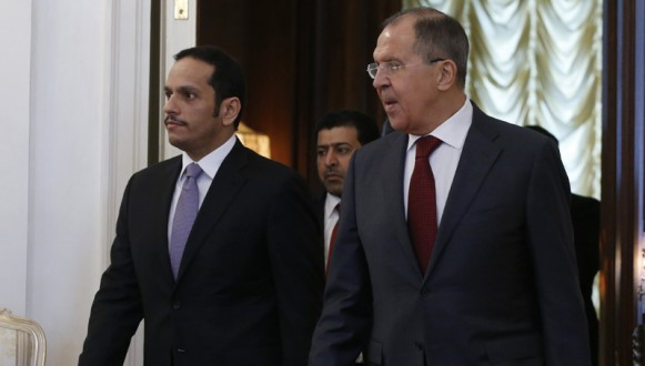 Sergei Lavrov and Foreign Minister of Qatar Sheikh Mohammed Al Thani