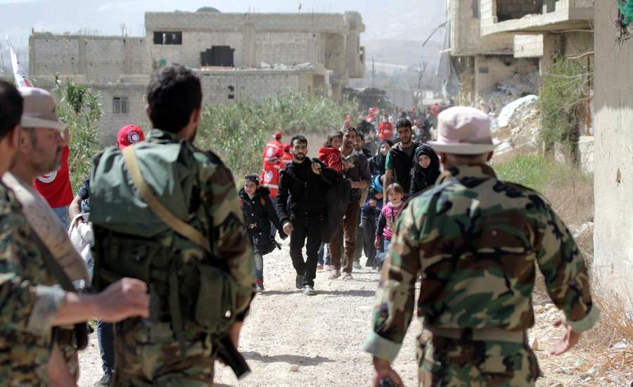 Adra makeshift center for evacuated civilians from Eastern Ghouta