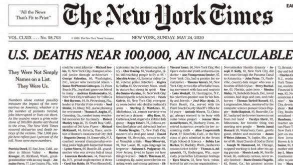 New York Times: Το συγκλονιστικό πρωτοσέλιδο για τα θύματα του κορωνοϊού στις ΗΠΑ