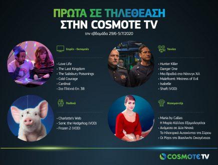 COSMOTE TV: Οι τίτλοι που βρέθηκαν στην κορυφή της τηλεθέασης την εβδομάδα 29/6 - 5/7