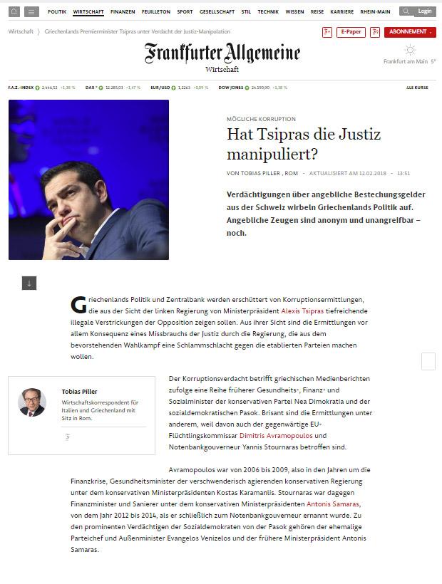 FAZ: «Χειραγώγησε ο Τσίπρας τη δικαιοσύνη;»